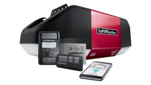 LiftMaster Garage Opener, Backup Battery, Control Panel, Remote, and Phone Connected to myQ App