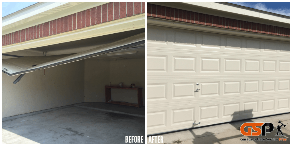 Broken Residential Garage Door. Before and After