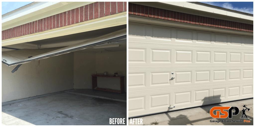 Broken Residential Garage Door. Before and After