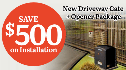 $500 Off Driveway Gate + Opener Package