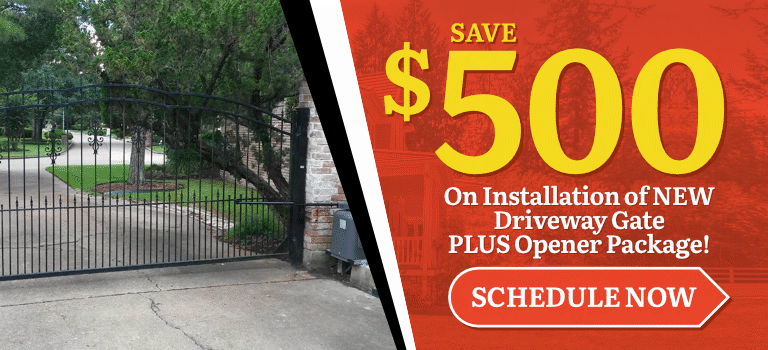 $500 Off Gate Installation + Opener Package